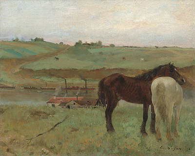 Horse Painters Painting - Horses In A Meadow by Edgar Degas