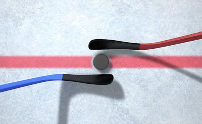 Turf Digital Art - Ice Hockey Sticks And Puck by Allan Swart