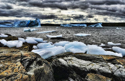 Icebergs At St. Anthony Art Print by Steve Hurt