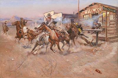 Cowboy Painting - In Without Knocking by Charles Marion Russell