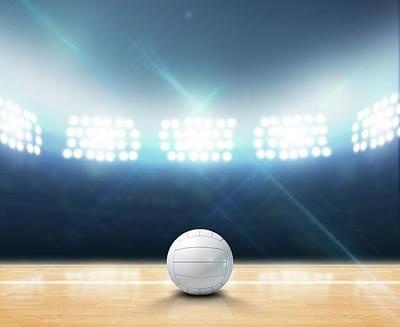 Volleyball Digital Art - Indoor Floodlit Volleyball Court by Allan Swart