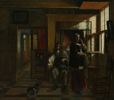 Painting - Interior With A Young Couple by Pieter de Hooch