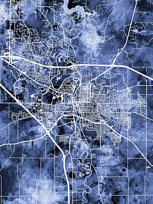 Digital Art - Iowa City Map by Michael Tompsett