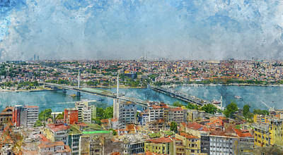 Painting - Istanbul Turkey Cityscape Digital Watercolor On Photograph by Brandon Bourdages