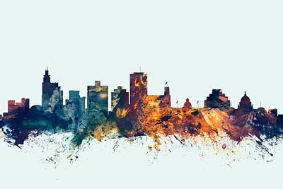 Jackson Mississippi Skyline Art Print by Michael Tompsett