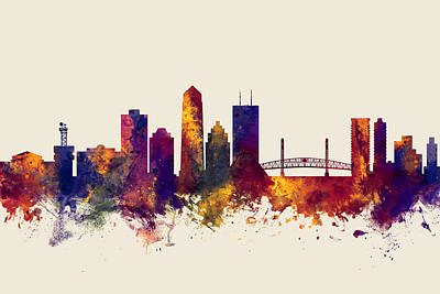 Digital Art - Jacksonville Florida Skyline by Michael Tompsett