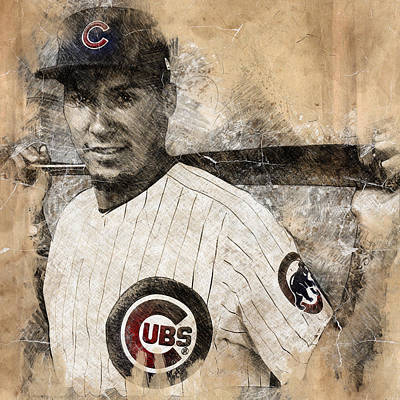 Chicago Cubs Drawing - Javier Baez by Anna J Davis