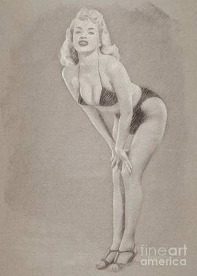 John Wayne Drawing - Jayne Mansfield Hollywood Actress And Pinup by Frank Falcon