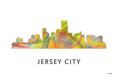 Nj Digital Art - Jersey City New Jersey Skyline by Marlene Watson