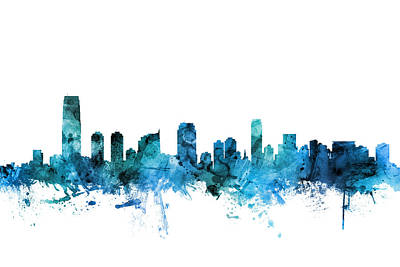 Digital Art - Jersey City New Jersey Skyline by Michael Tompsett