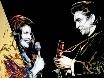 Cash Mixed Media - June Carter And Johnny Cash Collection by Marvin Blaine