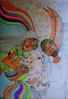 Painting - Kintu And Nambi A Folktale by Gloria Ssali