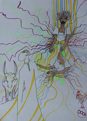 Painting - Kintu And Nambi Folktale by Gloria Ssali