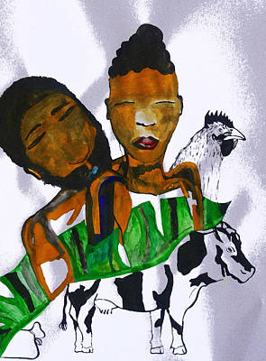 Painting - Kintu And Nambi Poster by Gloria Ssali