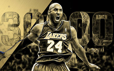 La Lakers Mixed Media - Kobe Bryant Collection by Marvin Blaine