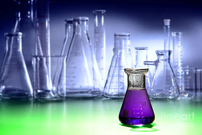 Flasks Photograph - Laboratory Equipment In Science Research Lab by Olivier Le Queinec
