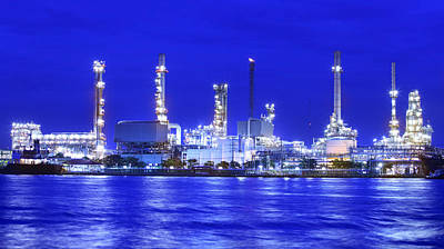 Landscape Of River And Oil Refinery Factory  Art Print