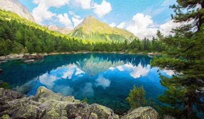 Dusk Painting - Landscape On Nature by Margaret J Rocha