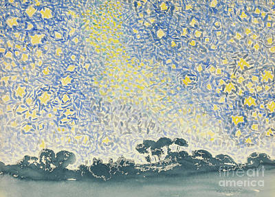 Constellations Painting - Landscape With Stars by Henri Edmond Cross