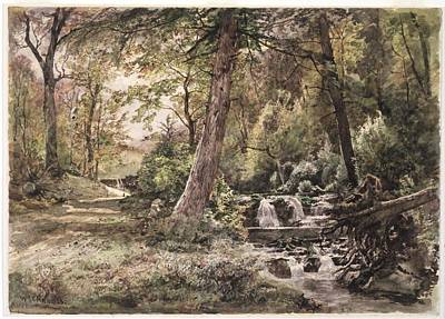 1833 Painting - Landscape With Stream And Road by William Trost Richards