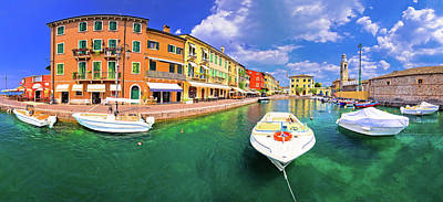 Photograph - Lazise Colorful Harbor And Boats Panoramic View by Brch Photography