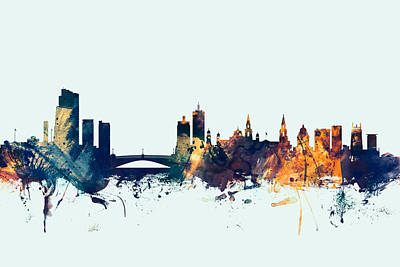 Great Britain Digital Art - Leeds England Skyline by Michael Tompsett