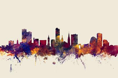Great Britain Digital Art - Leicester England Skyline by Michael Tompsett