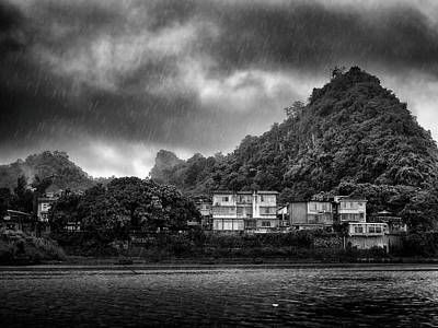 Kids Alphabet - Lijiang River boat tour in the rain-ArtToPan-China Guilin scenery-Black and white photograph by Artto Pan