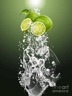 Fruits Mixed Media - Lime Splash by Marvin Blaine
