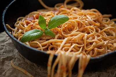 Linguine With Basil And Red Sauce In Cast Iron Pan Art Print by Erin Cadigan
