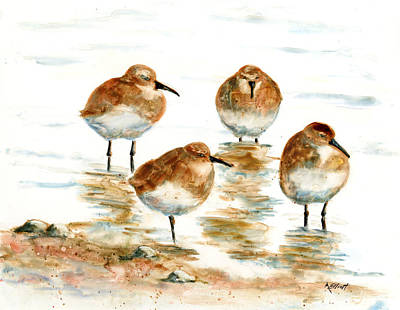 Shore Birds Painting - 4 Little Pipers by Marsha Elliott
