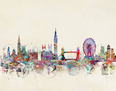 London Skyline Painting - London City Skyline by Bleu Bri