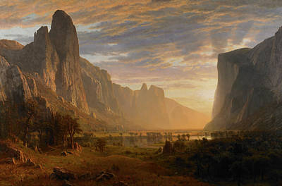 Looking Down Painting - Looking Down Yosemite Valley by Albert Bierstadt