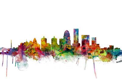 Kentucky Digital Art - Louisville Kentucky City Skyline by Michael Tompsett