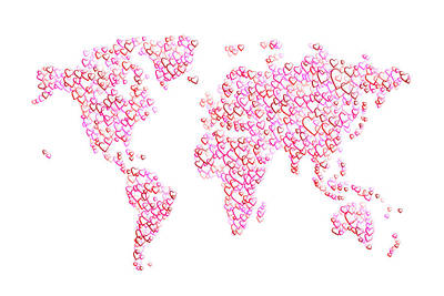 Abstract Map Digital Art - Love Hearts Map Of The World Map by Michael Tompsett