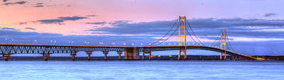 Lake Photograph - Mackinac Bridge In Evening by Twenty Two North Photography