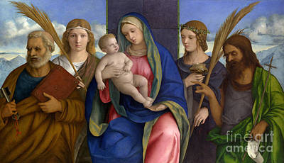 Baptist Painting - Madonna And Child With Saints by Giovanni Bellini