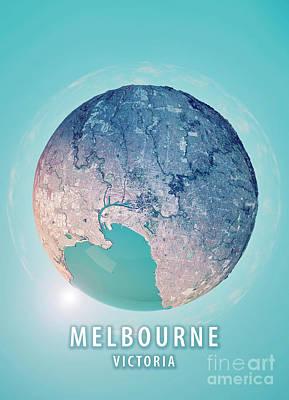 Blue Digital Art - Manama 3d Little Planet 360-degree Sphere Panorama by Frank Ramspott
