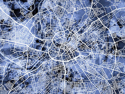 Abstract Map Digital Art - Manchester England Street Map by Michael Tompsett