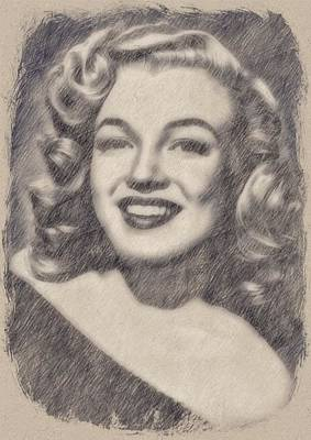 Musicians Drawings Rights Managed Images - Marilyn Monroe by John Springfield Royalty-Free Image by John Springfield