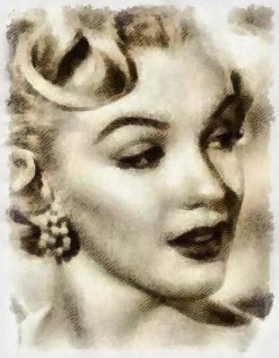 Actors Royalty-Free and Rights-Managed Images - Marilyn Monroe Vintage Hollywood Actress by Frank Falcon