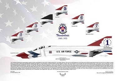 Art Print featuring the digital art Mcdonnell Douglas F-4e Phantom II Thunderbirds by Arthur Eggers