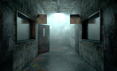 Mental Digital Art - Mental Asylum Haunted by Allan Swart