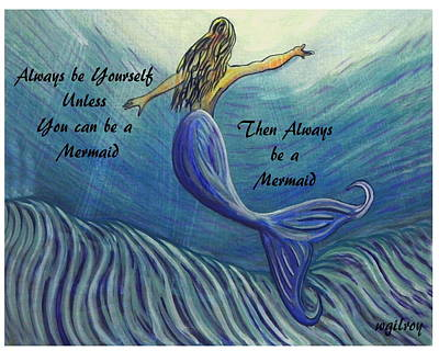 Surfing Art Painting - Mermaid by W Gilroy