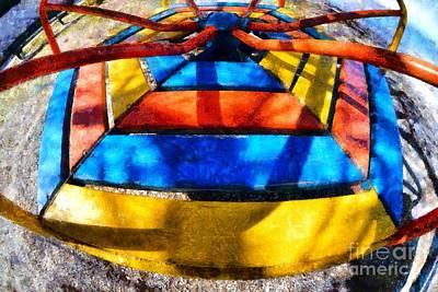 Fish Painting - Merry-go-round In Children Playground by George Atsametakis