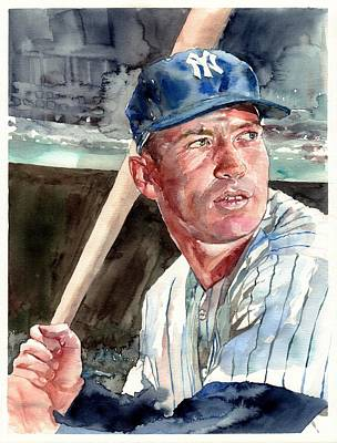 Mickey Mantle Painting - Mickey Mantle Portrait by Suzann's Art
