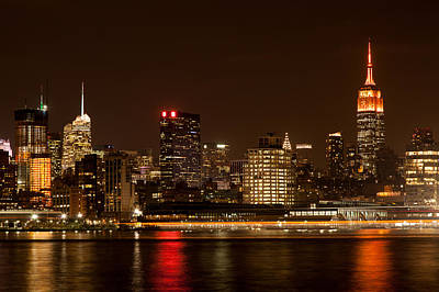 Empire State Building Photograph - Midtown Manhattan Skyline At Night by Erin Cadigan