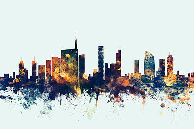 Vatican Digital Art - Milan Italy Skyline by Michael Tompsett