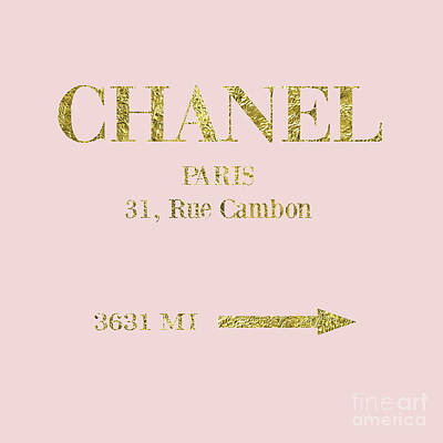 Chanel Wall Art - Digital Art - Mileage Distance Chanel Paris by Voros Edit