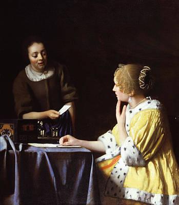 Jan Vermeer Painting - Mistress And Maid by Johannes Vermeer